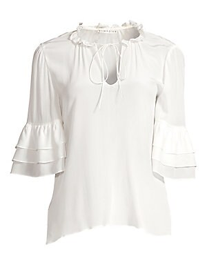 """Image of A ruffled tie neckline accentuates the feminine style of this pure silk top cut with tiered bell sleeves for extra movement. Ruffled split-neck Front keyhole self tie Elbow bell sleeves Gathered detail Silk Dry clean Imported SIZE & FIT About 24"""" from sho"""