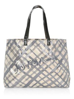 Saks Fifth Avenue Pvc Grid Pattern Logo Shopper