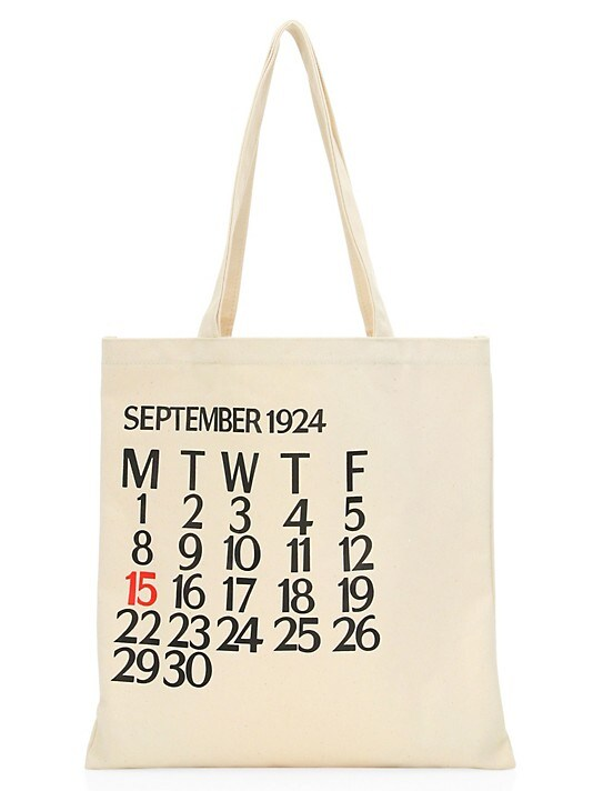 Saks Fifth Avenue Five-Day Calendar Canvas Tote Bag