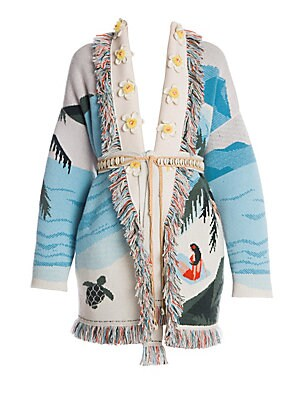 Image of Crafted in ultra-soft Italian cashmere, this belted knit cardigan is defined by its intarsia Hawaiian design, multi-color fringe trim and floral appliqué. Shawl collar Long sleeves Front belted close Floral appliqué Fringe trim Cashmere Dry clean Made in