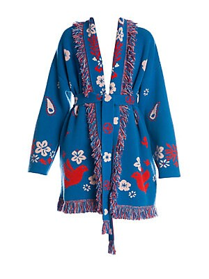 Image of Crafted in ultra-soft Italian cashmere, this knit cardigan is defined by its intarsia peace and love design, multi-color fringe trim and flattering belted silhouette. Shawl collar Long sleeves Front belted close Floral appliqué Fringe trim Cashmere Dry cl