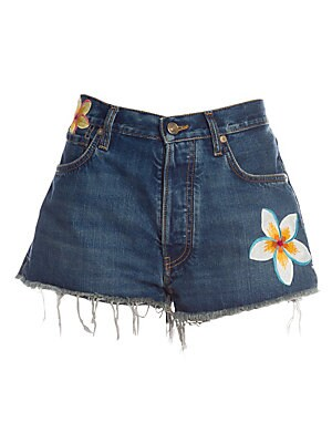 Image of Embroidered tropical flowers lend these denim shorts a holiday-ready vibe. A high-waist and distressed hems contribute to the laid-back appeal. Belt loops Zip fly with button closure Five-pocket style Frayed hems Cotton Dry clean Made in Italy SIZE & FIT