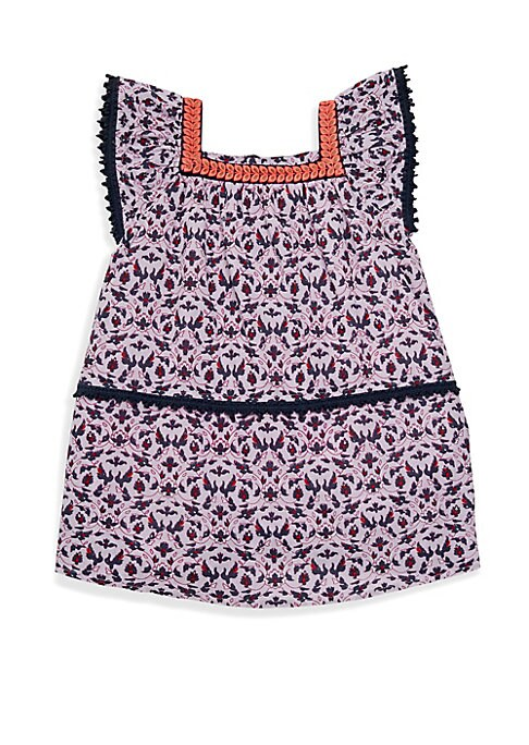 Image of Opulent print adorns this scalloped trim dress. Squareneck. Ruffled cap sleeves. Concealed back zip with keyhole button closure. Cotton. Machine wash. Imported.
