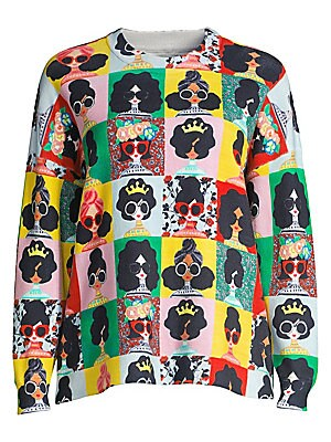 Quintin Face Print Sweater by Alice + Olivia