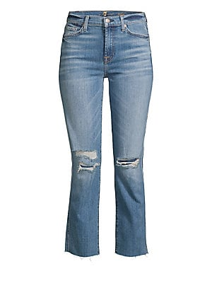2f6f5b2926 7 For All Mankind - Edie High Rise Ankle Straight-Leg Distressed Jeans