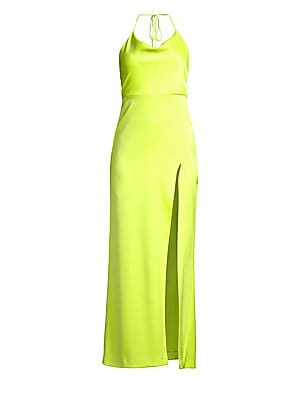 """Image of A silky halter-cut dress styled with a daring side slit for a sexy yet elegant look. Halterneck Sleeveless Spaghetti straps Self neck tie Exposed back zip Open back Stretch silk lining Triacetate/polyester Dry clean Imported SIZE & FIT About 59"""" from shou"""