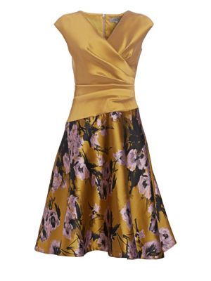 Stretch Mikado & Floral Jacquard Dress by Teri Jon By Rickie Freeman