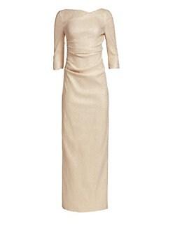 7e7e4684d695 Teri Jon by Rickie Freeman. Three-Quarter Sleeve Stretch Metallic Ruched  Gown