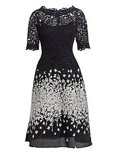 Teri Jon by Rickie Freeman. Lace   Jacquard A-Line Dress 1d611f3d3