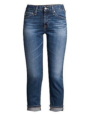 """Image of Casual cool jeans flaunt faded whiskered details and versatile rolled cuffs. Belt loops Five-pocket style Zip fly with button closure Back logo patch Cotton/polyurethane Machine wash Made in USA SIZE & FIT Slim-fit Rise, about 9.25"""" Inseam, about 26.5"""" Mo"""