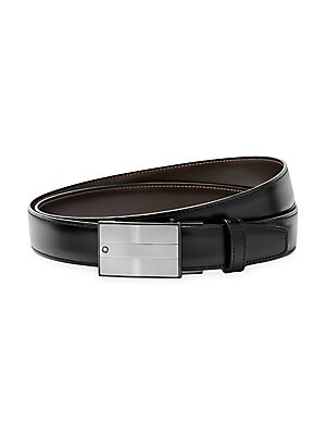 1a4ee6fa79a Montblanc - Rectangular Matte   Shiny Stainless Steel Roll Plate Buckle  Leather Belt