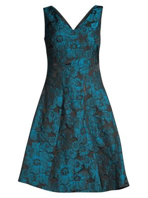 Floral Jacquard Fit & Flare Dress by Donna Karan New York