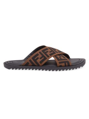 Cross Strap Logo Sandals by Fendi
