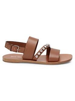 e8e2816c86a1 QUICK VIEW. Miu Miu. Leather Jewel Strap Sandals