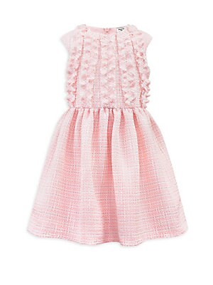 Image of Chic tweed knit dress with ruffle details and a gathered waist. Roundneck Cap sleeves Back zip closure Ruffle textures Back zip closure Cinched, gathered waist Polyester Hand wash Made in the UK. Children's Wear - Classic Children > Saks Fifth Avenue. Dav