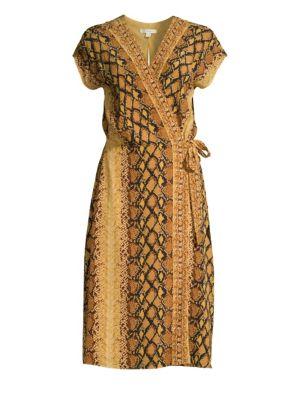 Joie Bethwyn Snakeskin Print Wrap Dress