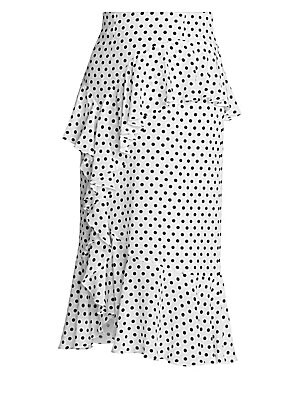 Image of Delicate ruffles encircle this high-waist midi skirt, highlighting the ladylike look of this piece. Adorned with a whimsical polka dot print, this skirt has a fluid fluttering silhouette crafted of luxe silk. Concealed back zip with hook & eye closure Ruf