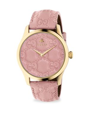 Gucci G Timeless Gold Pvd Case 38mm Pastel Pink Leather Strap Watch