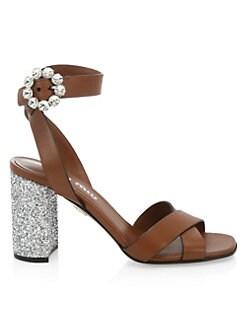 f7632e6fe239 QUICK VIEW. Miu Miu. City Leather Glitter-Heel Sandals