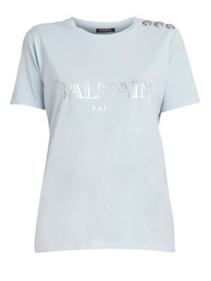 Balmain Metallic Logo Cotton Tee