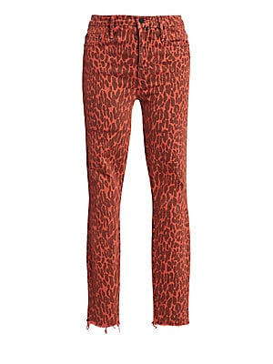 High Rise Looker Ankle Leopard Fray Hem Jeans by Mother