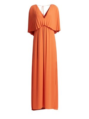 Halston Pleated Overlay Tie Back Georgette Gown