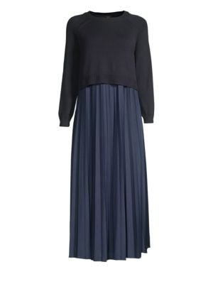 Pleated Chiffon & Knit Midi Sweater Dress by Weekend Max Mara