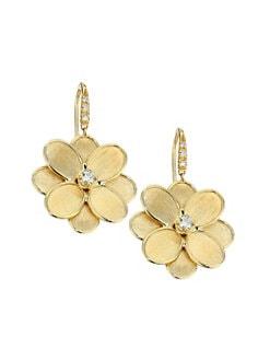 46ffba4223301 Marco Bicego. Petali Lunaria 18K Yellow Gold   Diamond Flower Drop Earrings
