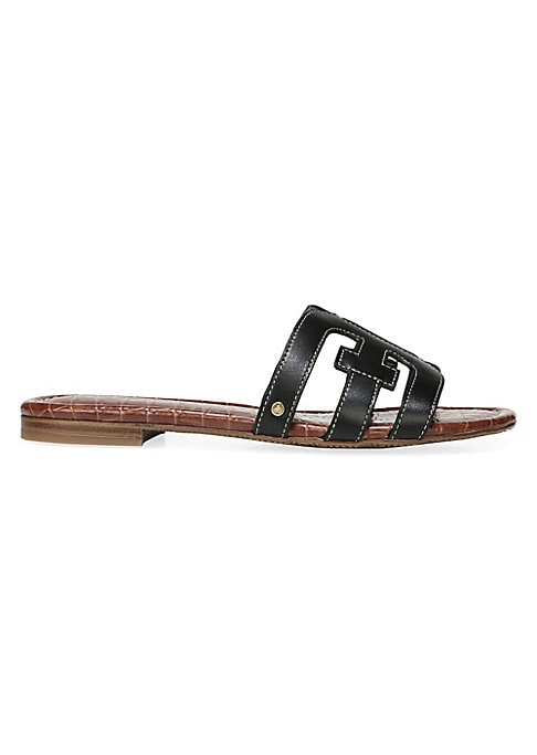 On-trend leather slides adorned with metallic detail on side Leather upper Open toe Slip-on style Man-made lining Rubber sole Imported. Women\'s Shoes - Contemporary Shoes > Saks Fifth Avenue > Barneys. Sam Edelman. Color: Black. Size: 9.5.