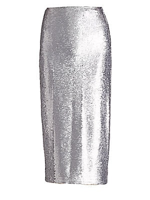 "Image of Allover sequining lends retro-glam to a flattering pencil skirt cut in a midi silhouette. Banded waist Side zip closure Back vent Lined Rayon/spandex Dry clean Imported SIZE & FIT About 38"" long Model shown is 5'10 (177cm) wearing US size Small. Contempor"