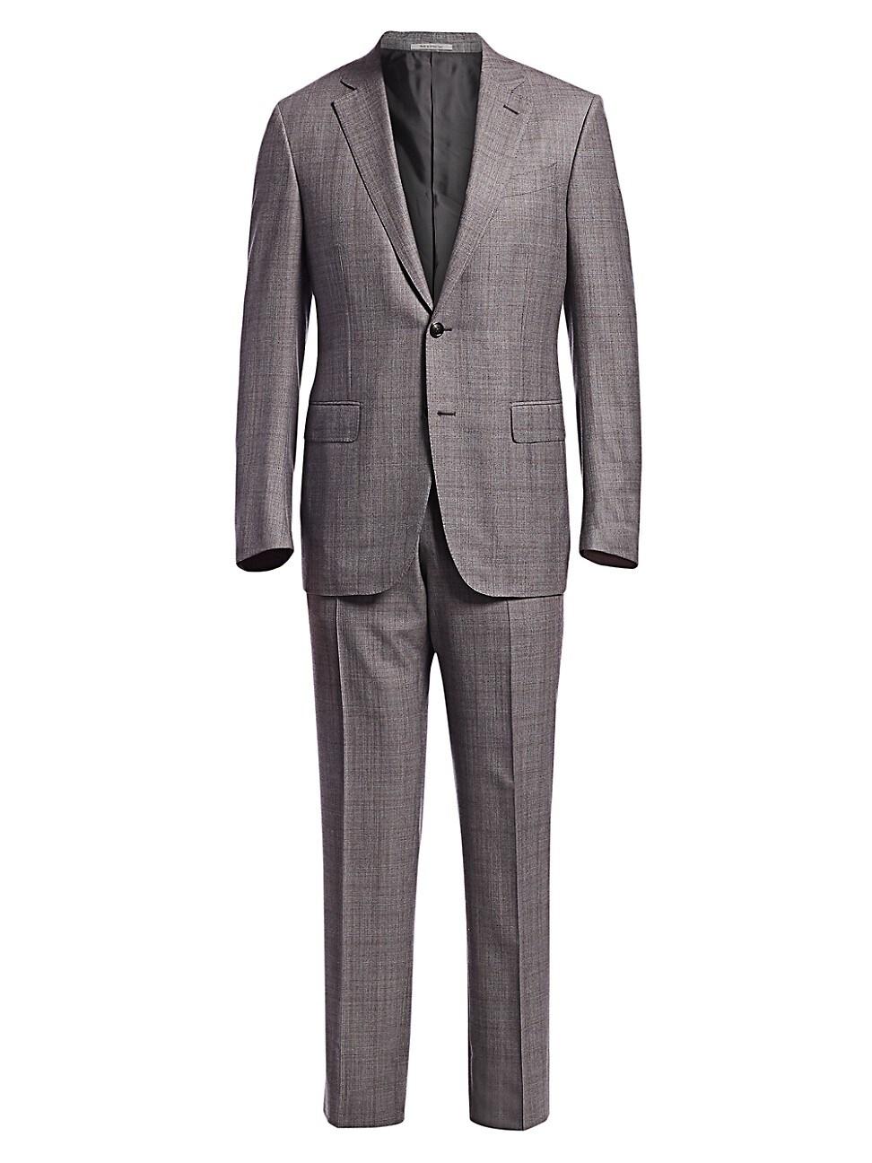 Ermenegildo Zegna Men's Two-button Wool Plaid Suit In Grey