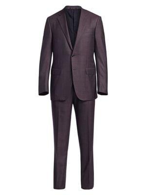 Ermenegildo Zegna Two Button Windowpane Wool Suit