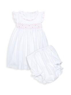 9cadac8794c Kissy Kissy. Baby s Two-Piece Hand-Smocked Pima Cotton Dress   Bloomers Set