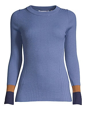 """Image of Allover ribbing adds textural interest to this colorblocked virgin wool knit. Roundneck Long sleeves Pullover style Virgin wool Hand wash Imported SIZE & FIT About 24.5"""" from shoulder to hem Model shown is 5'10 (177cm) wearing US size Small. Modern Collec"""
