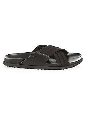 Image of Crisscross straps adorn these portable slides. Polyester and leather upper Open toe Slip-on style Rubber sole Imported. Men's Shoes - Prada Mens Footwear. Prada. Color: Black. Size: 10 UK (11 US).