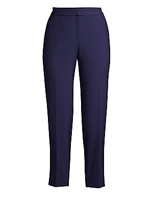 """Image of Smart cigarette pants with a touch of stretch. Hook closure Zip fly Two side pockets Polyester/viscose/cotton/elastane Machine wash Made in Portugal SIZE & FIT Inseam, 30"""" Model shown is 5'10 (177cm) wearing US size 4. Modern Collecti - Boss Black. BOSS."""