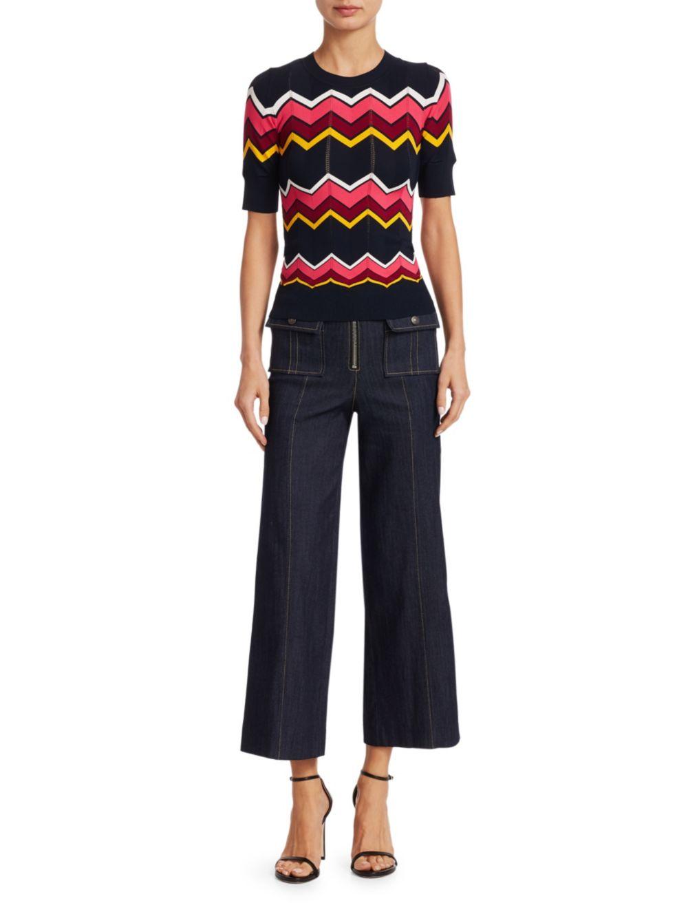 Cinq à Sept Azure Front High-Rise Wide-Leg Crop Jeans   SaksFifthAvenue