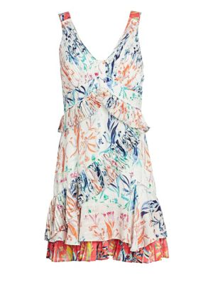 Tanya Taylor Eva Botanical Tiered Ruffle Dress
