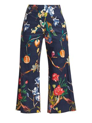 Tanya Taylor Evelyn Floral Wide Leg Crop Pants