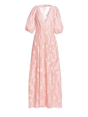 Tanya Taylor Ariela Burnout Floral Maxi Dress