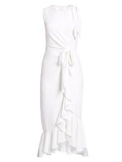93d0aefb53882 QUICK VIEW. Cinq à Sept. Nanon Crepe Sleeveless Ruffled Dress