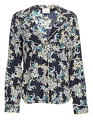 "Image of A elegant take on pajama dressing, this silk blouse features a vibrant floral print and contrast piping. Notched lapels Long sleeves Button front Chest patch pocket Shirttail hem Silk Dry clean Imported SIZE & FIT Tailored silhouette About 28"" from should"