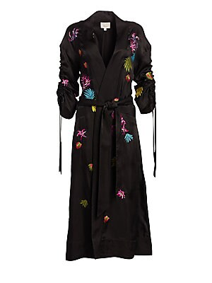 Image of A elegant take on pajama dressing, this silky longline jacket features colorful embroidery and artful sleeves. Shawl collar Long sleeves with adjustable gathers Open front Front welt pockets Belt loops Self belted waist Side and back hem vents Embroidered
