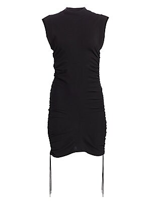 """Image of Bodycon dress with mock neck and adjustable side ties. Mockneck Sleeveless Pullover styling Adjustable side ties Cotton Dry clean Imported SIZE & FIT Fitted silhouette About 35.5"""" from shoulder to hem Model shown is 5'10 (177cm) wearing US size Small. Con"""