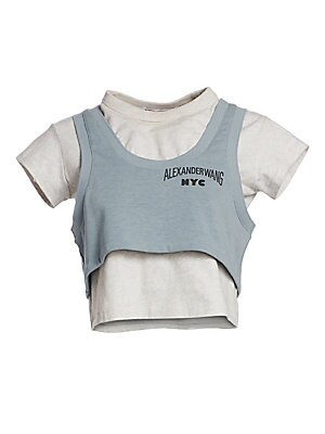 """Image of Bi-layered t-shirt with attached terry crop top is embued with the edgy street look of Alexander Wang. One-piece design Crewneck Short sleeves Cropped hem Cotton/polyester/elastane Dry clean Imported SIZE & FIT About 17"""" from shoulder to hem Model shown i"""