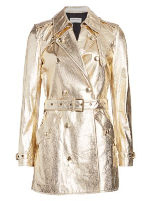 cheap sale classic shoes speical offer Metallic Leather Trench Coat