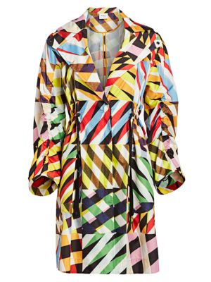Akris Punto Patchwork Drawstring Rain Coat
