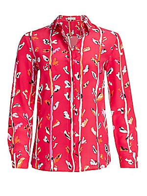 "Image of An abstract floral print refreshes this breezy work-to-dinner shirt crafted from luxurious silk. Point collar Long sleeves Button cuffs Button front Silk Dry clean Made in Italy SIZE & FIT About 25"" from shoulder to hem Model shown is 5'10 (177cm) wearing"
