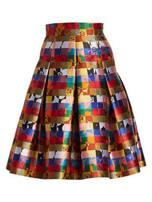 Akris Punto Square Jacquard A Line Skirt