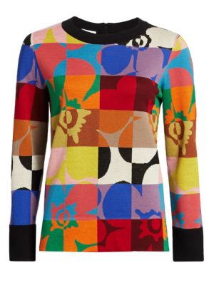 Akris Punto Floral Jacquard Wool Sweater